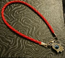 KABBALAH RED STRING BRACELET WITH HAMSA & EVIL EYE PENDANT - Lucky Amulet Gift