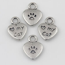 15Pcs Love My Cat Paw Heart Tibetan Silver pendants 12*9mm Cute Pet Charms