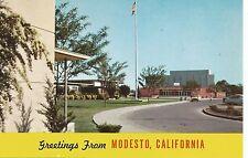 Greetings from Modesto Thomas Downey High School Postcard 1950s
