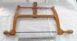 "SUPERB Vintage Beech & Brass 13"" Bladed Bow Saw by MARPLES, New Cord Old Tool"