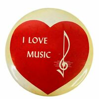 Vintage Pinback Button Pin I Love Music Note Quotation Heart Red White 2.5""