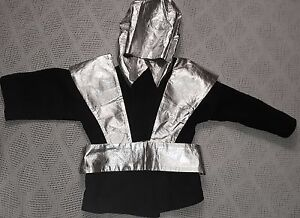 Black Ninja Costume Jacket with Silver Hoodie and Silver Vest/Belt Youth Large