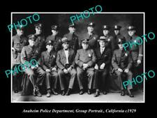 OLD LARGE HISTORIC PHOTO OF ANAHEIM POLICE DEPARTMENT UNIT c1929 CALIFORNIA