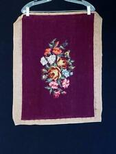 """VINTAGE 1940'S FRENCH DARK RED FLORAL NEEDLE POINT 16"""" X 31 1/2"""""""
