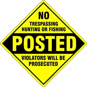 "No Trespassing Hunting or Fishing Aluminum Metal Sign Made in USA 12"" x 12"""