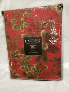 """NWT Ralph Lauren Birchmont Red 70"""" Round Tablecloth Christmas Red Pine Cone"""