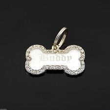Custom Engraved Personalized Small Bone Shape w/ CZ Dog Metal Tag Pet ID Name
