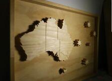 100% Handmade Australia Map Wooden Wall Art Framed Picture