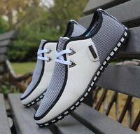 Mens Breathable Lace Up Casual Sneaker Sandals Soft Leather Chic Driving Shoes