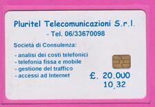 CARTE DE TEST ITALIE PLURITEL TELECOMUNICAZIONI VERSO BLANC FONCTIONNELLE