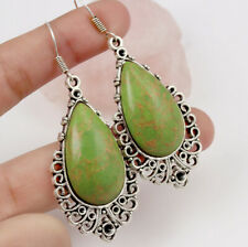 "Plated Earrings 2.4"" St-02155 Copper Green Turquoise 925 Silver"