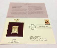 Love Angelic Cherub Stamp May 12, 1995 FDC and 22kt gold replica