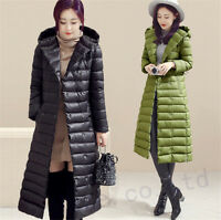 Womens Winter Long Outerwear Duck Down Jacket Puffer Hooded Knee Length Coat