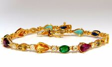 8.38ct natural tsavorite sapphires emeralds yellow diamond tennis bracelet 18kt