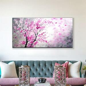 HAND PAINTED TEXTURED PALETTE KNIFE TREE RED FLOWER PAINTING 60X120CM