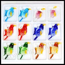 12 Pcs Lovely bird Crystal Murano art glass beaded leather pendant necklace