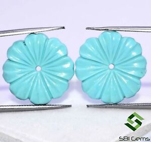 13.17 Cts Certified Natural Turquoise Hand Made Carving Pair 18 mm Gemstones