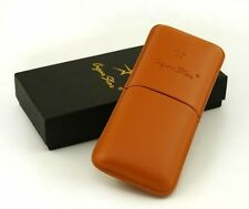 3 Cigar Brown Genuine Leather Travel humidor / Case By Cigar Star
