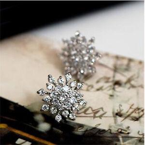Women's Elegan Crystal Snow Flake Stud Earrings Fashion Flower Shape Earrings TU