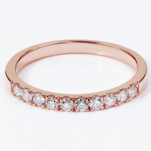 0.60 TCW Round Cut DVVS1 Moissanite Wedding Band In 14k Rose Gold Plated