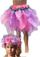 Girls Fairy Dress Costume Unicorn Skirt Pink and Lilac Plus Free Headpiece