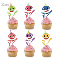 30pc Baby Shark Cake Picks Cupcake Toppers Birthday Party