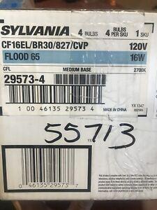 New 4-pack Sylvania Compact Fluorescent Bulb Flood 65W CF16EL/BR30/827/CVP