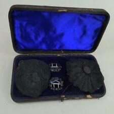 Antique Georgian Set of Shoe Buckles and Breeches Buckles in Original Case JET