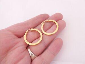 9ct gold pair of hoop earrings, vintage 9k 375