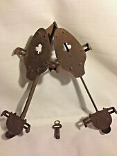 Antique Ice Skates with Key  Primitive For Decor Winter Sport Metal Distressed