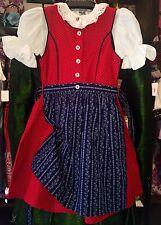 Kinderdirndl, Dirndl, inkl Bluse, rot, blau, Gr 152, Mädchen, Baumwolle