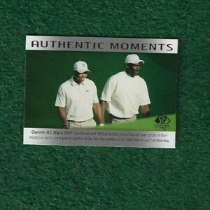 MICHAEL JORDAN - TIGER WOODS - 2014 SP AUTHENTIC - AUTHENTIC MOMENTS - CARD # 69