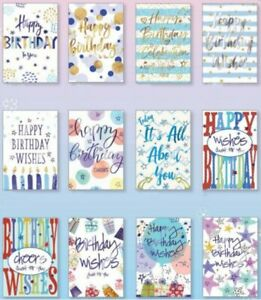 12 x multipack Open mix Birthday Cards for male, female,bulk pack, high quality