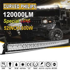 RQ+ CURVED LENS 52Inch 800W LED WORK LIGHT BAR OFFROAD DRIVING CAR SUV 4X4 VS 5D