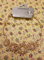 hannah brilliance ab and peach glass rhinestone necklace gold flowers new unused