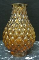 "Amber Glass Hurricane Shade For Candle Holder or Lamp 8"" High"