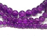 GLASPERLEN CRACKLE Perlen CRASH Violett Rund 4mm 6mm 8mm 3 Stränge BEST D45A