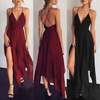 Women's Maxi Boho Backless Summer Beach Long Skirts Evening Cocktail Party Dress