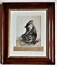 After Rembrandt, copy of portrait, etching, late 18th century, in period frame
