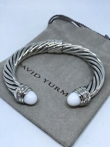David Yurman 925 Silver 10mm Cable Classic Cuff Bracelet Cabochon Agate Diamond