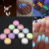 12 GLOW IN THE DARK POWDER LUMINESCENT ACRYLIC NAIL PAINTING NEON FLUORESCENT UK
