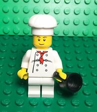 Lego New Chef Cook Mini Figure W/ Saucepan Pot Utensil City Modular Restaurant