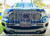 Fits 2019-2020 Ford Ranger chrome GRILLE INSERT mesh grill overlay trim XL XLT