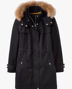JOULES New Aspen Parka Coat Black Waterproof Sz 10 RRP£189 FreeUKP&P