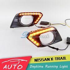 DRL LED DAYTIME RUNNING LIGHT FOG LAMP FOR NISSAN X-TRAIL 2014 2015 TURN SIGNAL