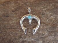 Navajo Indian Sterling Silver Squash Blossom Naja Turquoise Pendant!
