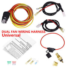 Dual Electric Cooling Fan Wiring Harness Thermostat Temp Switch Sensor Relay Kit