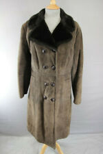 HOUSE OF FRASER/ALLANDER DOUBLE-BREASTED BROWN SUEDE LEATHER SHEEPSKIN COAT 38IN
