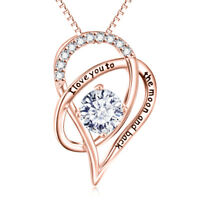 18K Rose Gold I Love You With TO THE MOON AND BACK Necklace Heart Pendant 18""