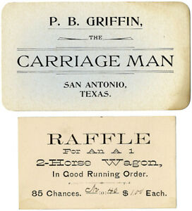 1890s San Antonio Texas CARRIAGE MAN Trade Card, w/ Raffle Ticket for Wagon
